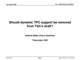 Should dynamic TPC support be removed from TGh's draft?