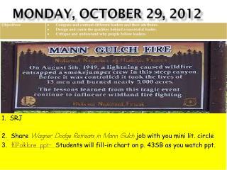 MONDAY, OCTOBER 29, 2012