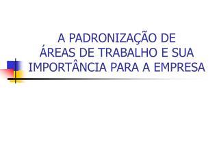 A PADRONIZAÇÃO DE  ÁREAS DE TRABALHO E SUA IMPORTÂNCIA PARA A EMPRESA