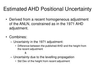 Estimated AHD Positional Uncertainty