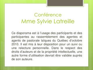 Conf rence  Mme Sylvie Latreille