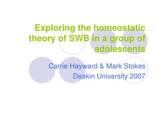 Exploring the homeostatic theory of SWB in a group of adolescents