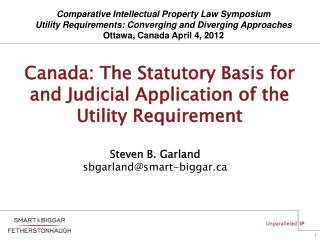 Canada: The Statutory Basis for and Judicial Application of the Utility Requirement