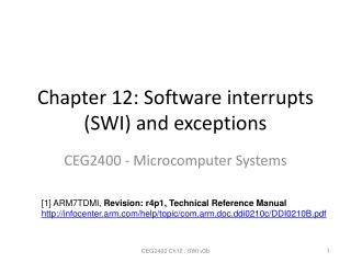 Chapter 12: Software interrupts (SWI) and exceptions