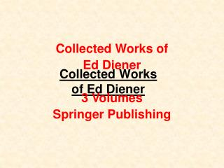 Collected Works of Ed Diener