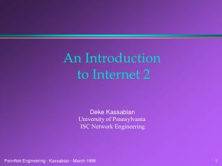 An Introduction  to Internet 2