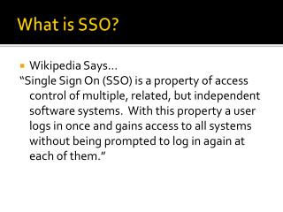 What is SSO?