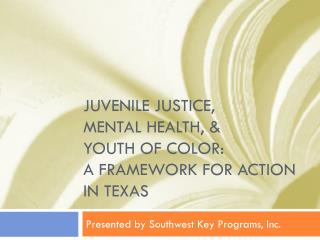 Juvenile Justice,  Mental Health, &  Youth of Color:  A Framework for Action in Texas