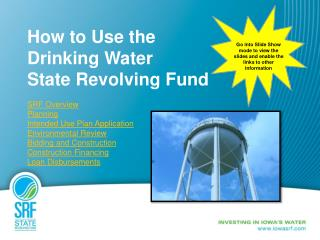 How to Use the  Drinking Water  State Revolving Fund SRF Overview Planning