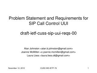 Problem Statement and Requirements for SIP Call Control UUI draft-ietf-cuss-sip-uui-reqs-00