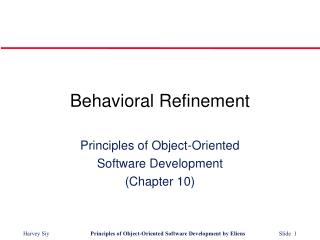 Behavioral Refinement
