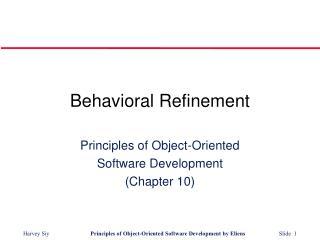 Behavioral Refinement
