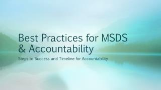 Best Practices for MSDS & Accountability