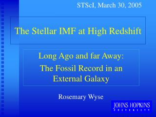 The Stellar IMF at High Redshift