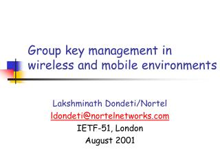 Group key management in wireless and mobile environments