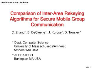 Comparison of Inter-Area Rekeying Algorithms for Secure Mobile Group Communication