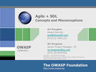 Agile + SDL  Concepts and Misconceptions