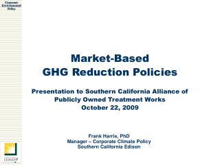 Market-Based GHG Reduction Policies