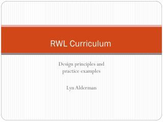 RWL Curriculum