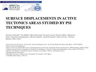SURFACE DISPLACEMENTS IN ACTIVE TECTONICS AREAS STUDIED BY PSI TECHNIQUES