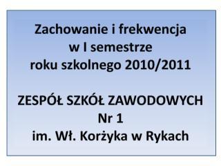 Zachowanie i frekwencja  w I semestrze  roku szkolnego 2010/2011 ZESPÓŁ SZKÓŁ ZAWODOWYCH  Nr 1
