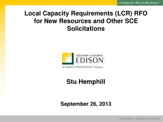 SCE's LCR Procurement Authorization