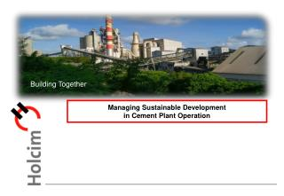 Managing Sustainable Development  in Cement Plant Operation