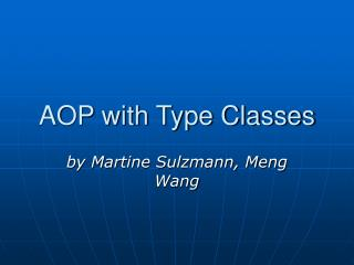 AOP with Type Classes