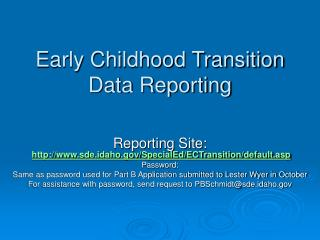 Early Childhood Transition Data Reporting