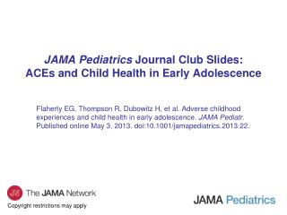 JAMA Pediatrics  Journal Club Slides: ACEs and Child Health in Early Adolescence