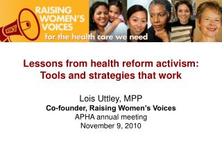 Lessons from health reform activism: Tools and strategies that work