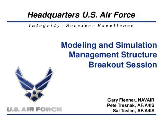Modeling and Simulation  Management Structure Breakout Session