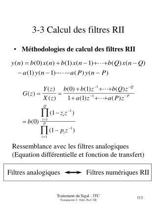 3-3 Calcul des filtres RII