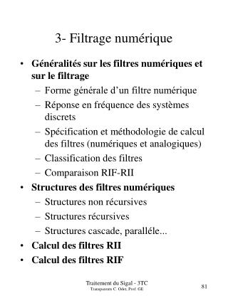 3- Filtrage num�rique