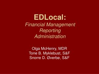 EDLocal: Financial Management Reporting  Administration