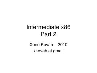 Intermediate x86 Part 2