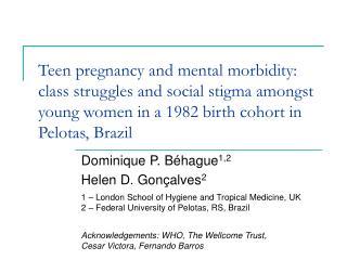 Dominique P. Béhague 1,2 Helen D. Gonçalves 2