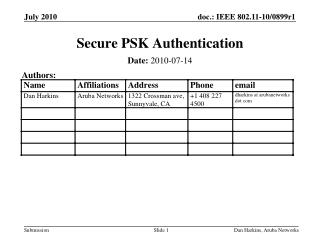 Secure PSK Authentication