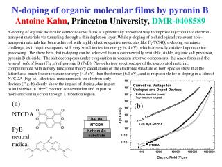 N-doping of organic molecular films by pyronin B Antoine Kahn , Princeton University,  DMR-0408589