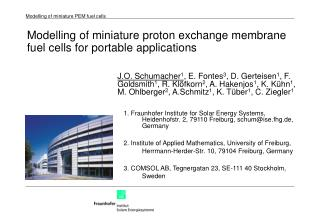 Modelling of miniature proton exchange membrane fuel cells for portable applications