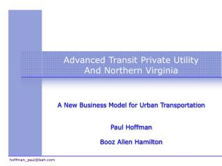 Advanced Transit Private Utility And Northern Virginia