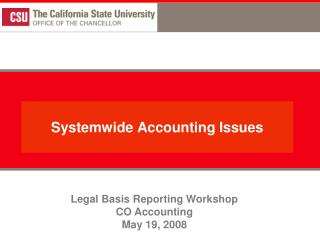 Systemwide Accounting Issues