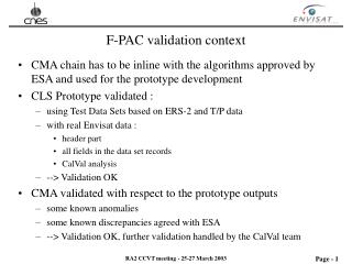 F-PAC validation context