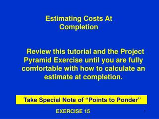 Estimating Costs At Completion
