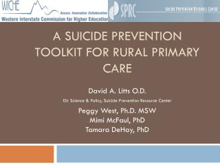 A Suicide Prevention Toolkit for Rural Primary Care