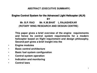 ABSTRACT (EXECUTIVE SUMMARY) Engine Control System for the Advanced Light Helicopter (ALH) BY