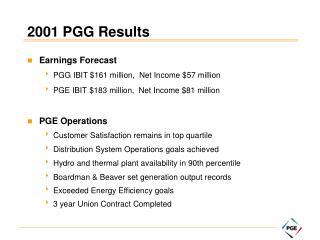 2001 PGG Results