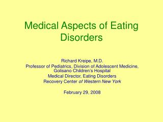 Medical Aspects of Eating Disorders