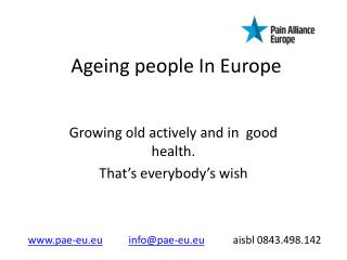 Ageing people In Europe