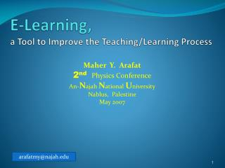 E-Learning,  a Tool to Improve the Teaching/Learning Process